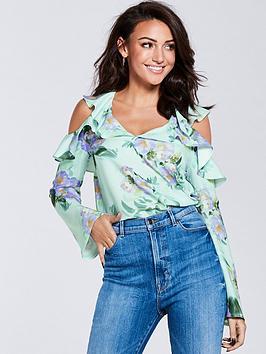 michelle-keegan-printed-cold-shoulder-blouse