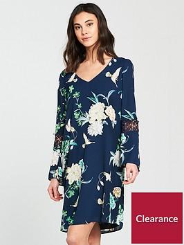 wallis-bird-print-crochet-insert-dress