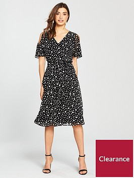 wallis-spot-cold-shoulder-midi-dress-blackivory