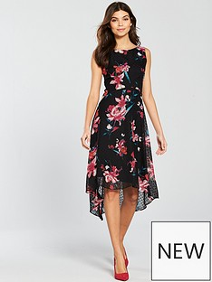 wallis-floral-dobby-hi-low-dress