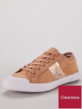 fred-perry-ellerton-microfibrenbsplace-up-trainers-brown
