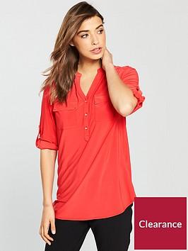 wallis-button-jersey-three-quarter-sleeve-shirt-red