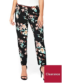 wallis-petite-oriental-print-piped-trouser-black