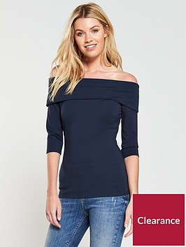 v-by-very-bardot-34-sleeve-ponte-top-navy