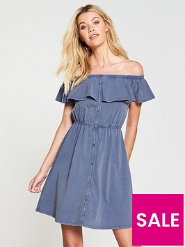 v-by-very-washed-frill-day-dress-denim-blue