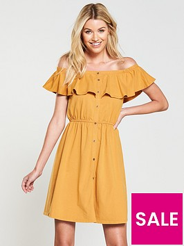 v-by-very-washed-frill-day-dress-mustard