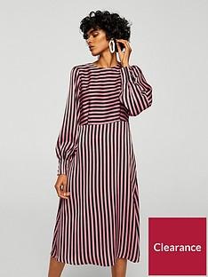 mango-mango-striped-midi-dress-pinkblack