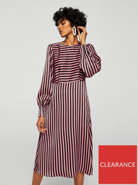 968012d8545 Mango Mango Striped Midi Dress - Pink Black