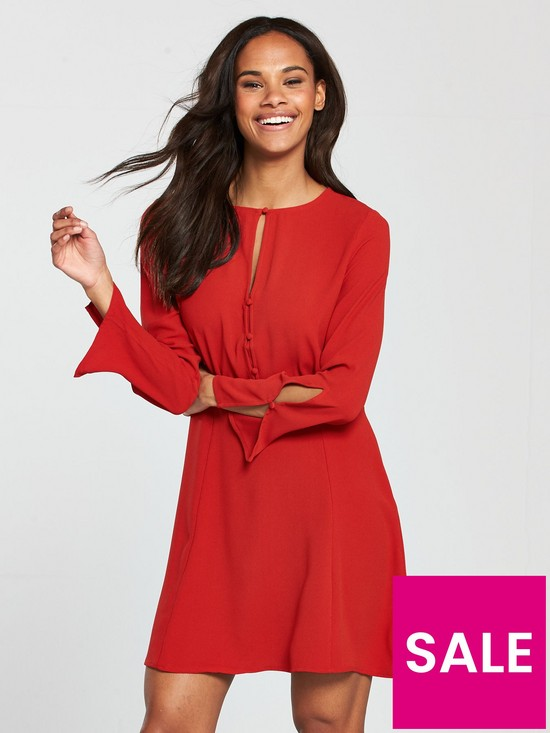Mango Cut Out Detail Dress - Red  acedbfee8