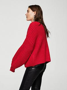 mango-chunky-knit-cardigan-red