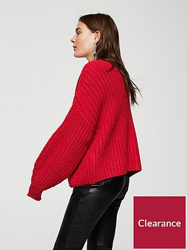 mango-chunky-knit-cardigan-red
