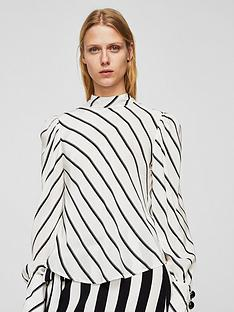 mango-puffed-sleeve-striped-shirt-off-white