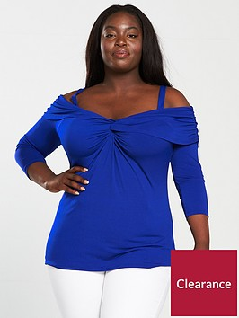 v-by-very-curve-knot-front-cold-shoulder-top-bluenbsp