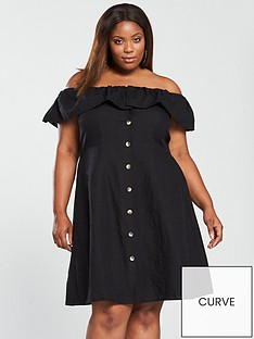 v-by-very-curve-linen-off-the-shoulder-button-through-midi-dress-black