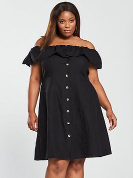 v by very curve linen off the shoulder button through midi dress - black