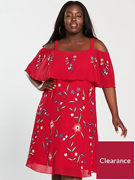 v-by-very-curve-cold-shoulder-embroidered-dress-red-print