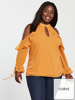 v-by-very-curve-cold-shoulder-ruffle-blouse-yellow