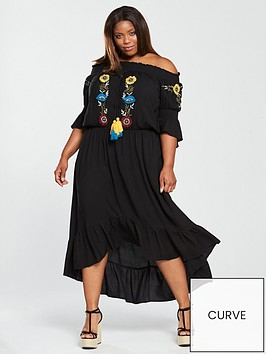 v-by-very-curve-embroidered-tasselnbspfront-dress-black