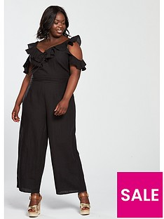 b6ea0557227 V by Very Curve Eyelet Ruffle Sleeve Jumpsuit - Black