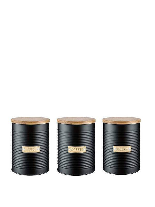 Otto Black Tea Coffee And Sugar Storage Canisters