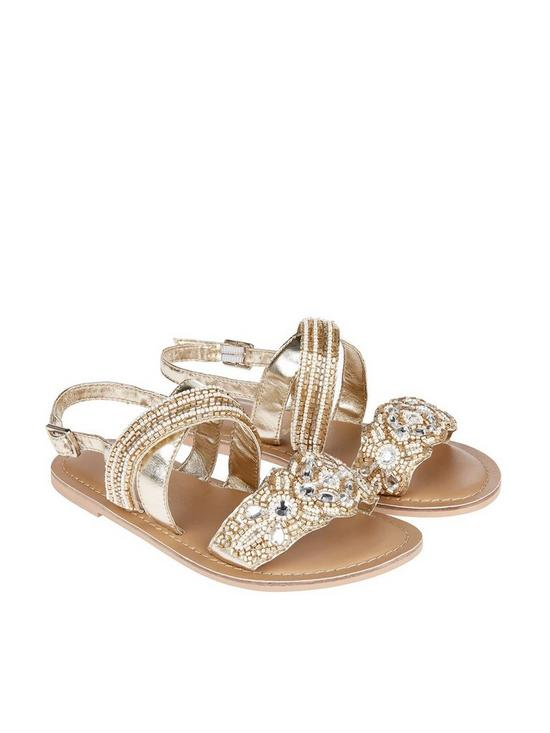 bc68ce62b7b24 Accessorize Girls Fancy Beaded Sandals - Gold