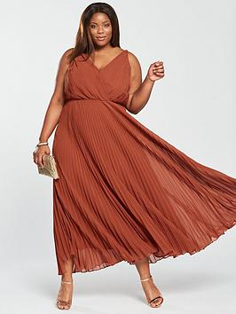 v by very curve pleated maxi dress - spice