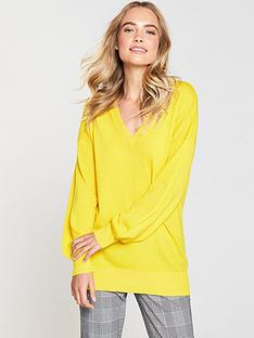 v-by-very-v-neck-blouson-sleeve-slouch-jumper-yellow