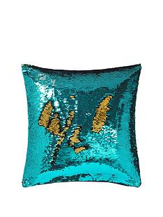 catherine-lansfield-reverse-sequin-cushion-peacock-bluegold