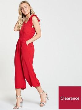 miss-selfridge-tie-shoulder-jumpsuit-rednbsp