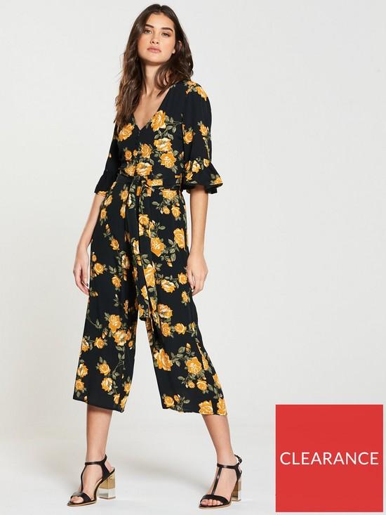 6f5f3b8cbd Miss Selfridge Arabella Floral Culotte Jumpsuit - Black Print