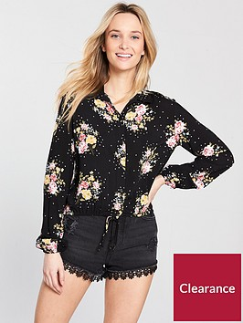 miss-selfridge-tie-front-shirt-black-bouquetnbsp