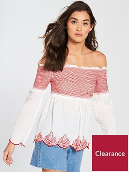 miss-selfridge-embroidered-cotton-bardot-top-whiterednbsp