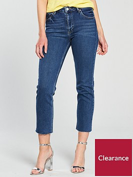 miss-selfridge-straight-high-rise-jean-mid-bluenbsp