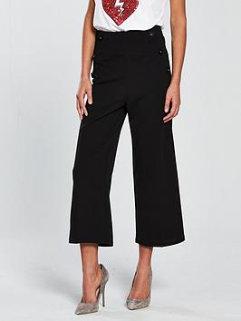 miss-selfridge-button-detail-crop-wide-leg-trouser-black