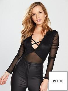 miss-selfridge-petite-lace-lattice-mesh-body-black