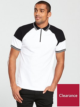 v-by-very-premium-jersey-shoulder-detail-polo-white