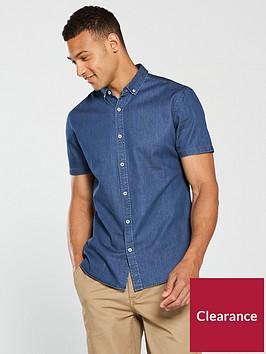 v-by-very-mens-short-sleeved-denim-shirt-blue