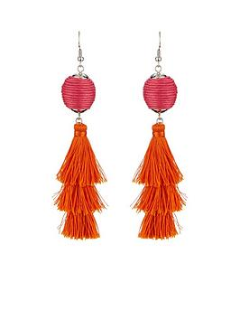 v-by-very-ball-multi-tassel-drop-earrings-pinkorange