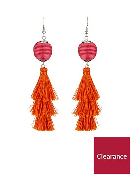 v-by-very-ball-multi-tassel-drop-earrings-pinkorange