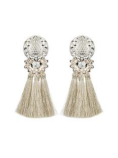 v-by-very-tassel-earrings-silver