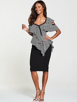 v-by-very-cold-shoulder-frill-pencil-dress-stripe