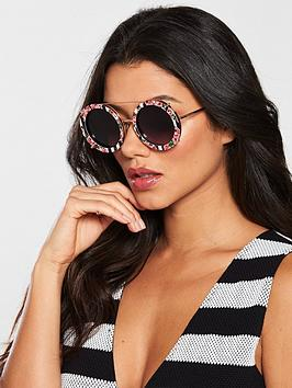Dolce & Gabbana Stripe Floral Interchangeable Lens Sunglasses