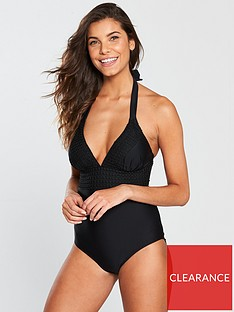 75d4828355 V by Very Crochet Trim Swimsuit - Black