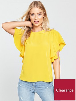 warehouse-ruffle-top-yellow