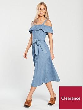 warehouse-cold-shoulder-denim-midi-dress-mid-wash