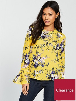 warehouse-trailing-floral-pleat-cuff-top-yellow