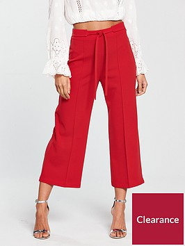 miss-selfridge-tie-waist-crop-wide-leg-trouser-red