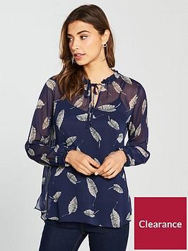 wallis-leaf-print-tie-front-sheer-shirt-navynbsp