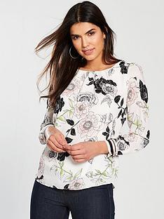 wallis-floral-long-sleeved-top