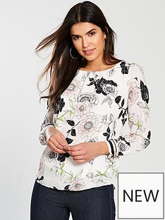 wallis-floral-long-sleeved-top